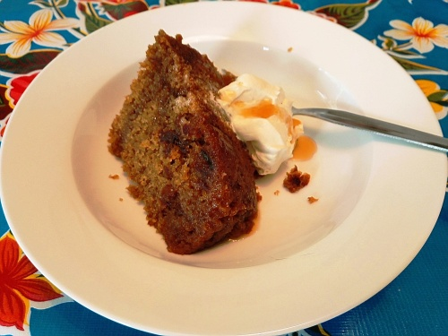 Date and maple syrup steamed pudding, with cream