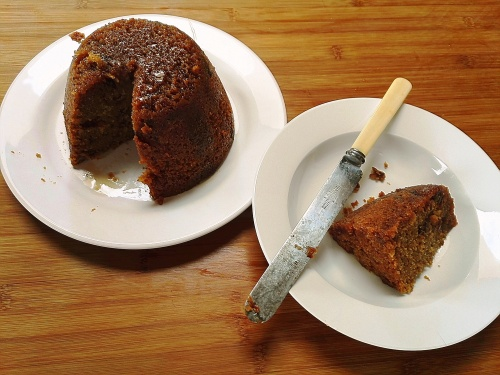 Date and maple syrup steamed pudding, sliced