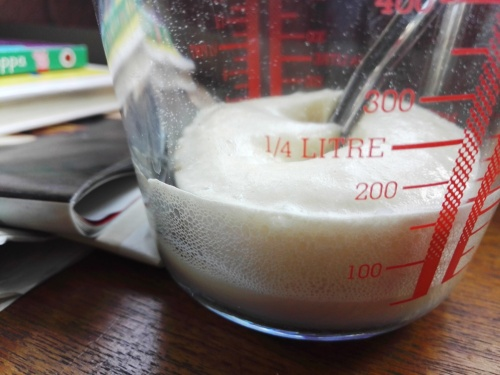 Frothy yeast mix