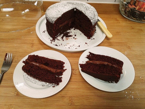 Slices of buttermilk chocolate cake