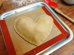 Large heart figolla ready to bake